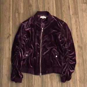 Plum Rebecca Minkoff Kaya Velvet Bomber Jacket
